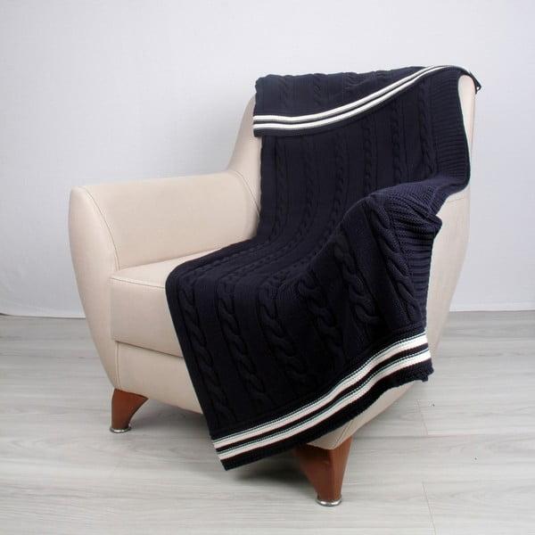 Modrá bavlněná deka Ecru,130 x 170cm
