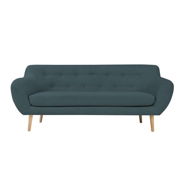 Canapea cu 2 locuri și picioare de culoare deschisă Mazzini Sofas Sicile, albastru închis