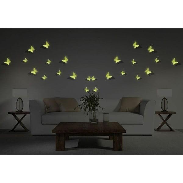 Sada 12 v tme svietiacich 3D samolepiek Ambiance Butterflies