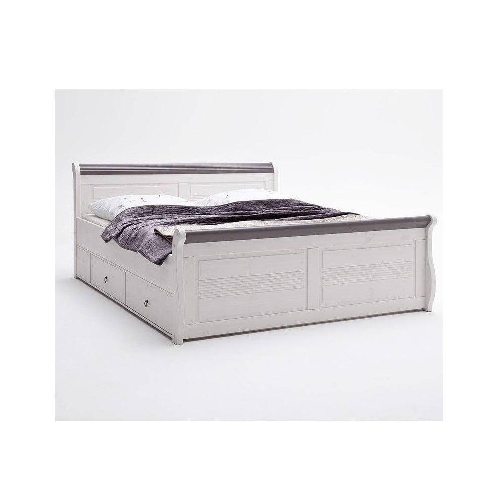 Bílá postel z borovicového dřeva s úložným prostorem SOB Harald Komfort, 140 x 200 cm