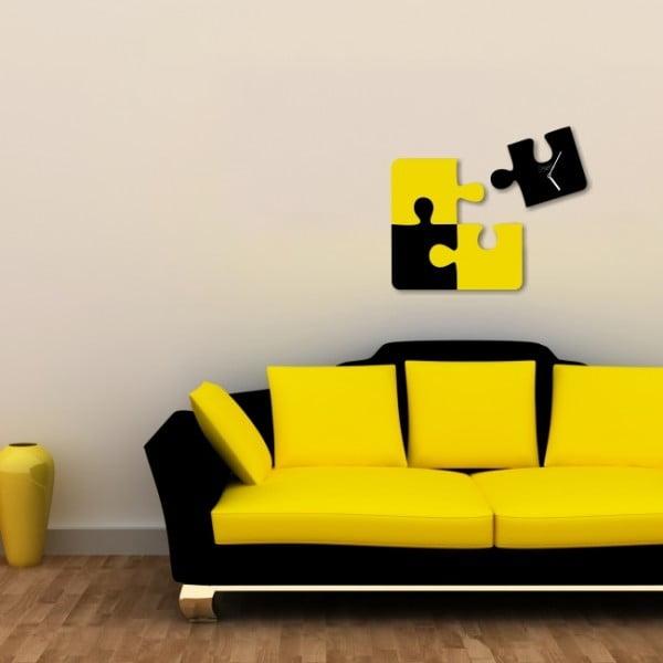 Nástěnné hodiny Black Yellow Puzzle