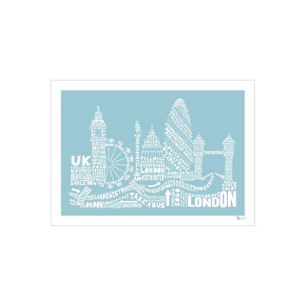Plakát London Blue&White, 50x70 cm