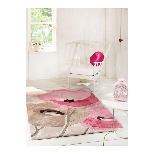 Koberec Poppy Flowers Beige Pink, 80x150 cm