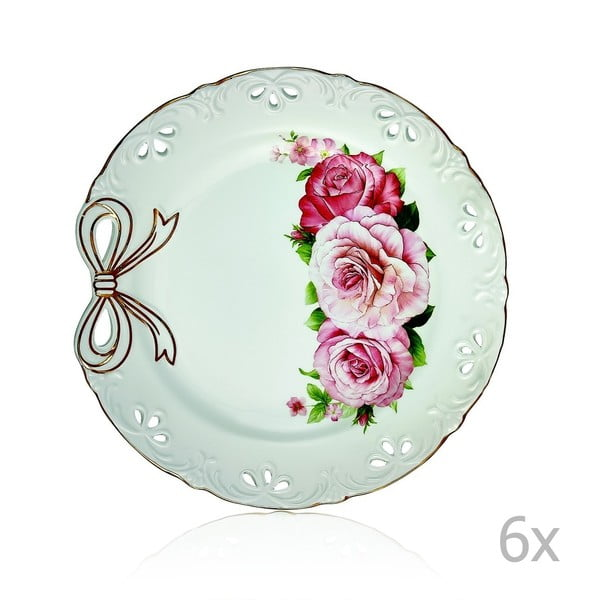 Loulou 6 db-os lila porcelántányér szett