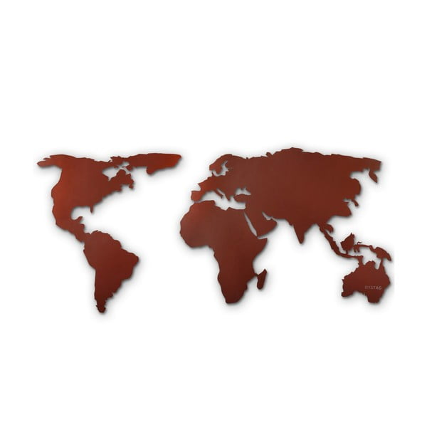 Decorațiune din metal pentru perete Map Of The World Brown, 85 x 170 cm