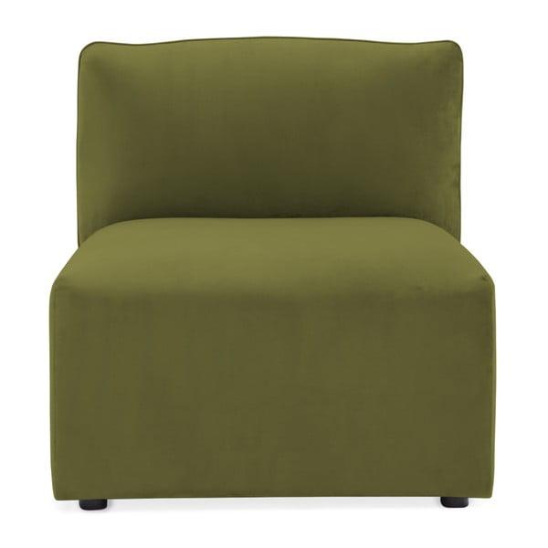 Modul de mijloc pentru canapea Vivonita Velvet Cube, verde măsliniu