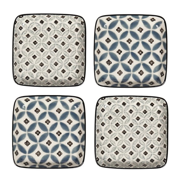 Sada 4 porcelánových talířů Old Floor, 12.5 cm