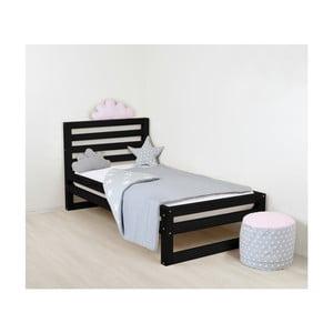 Dětská černá dřevěná jednolůžková postel Benlemi DeLuxe, 180x90cm