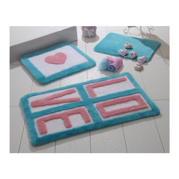 Set 3 covoare de baie Alessia Love Turquoise