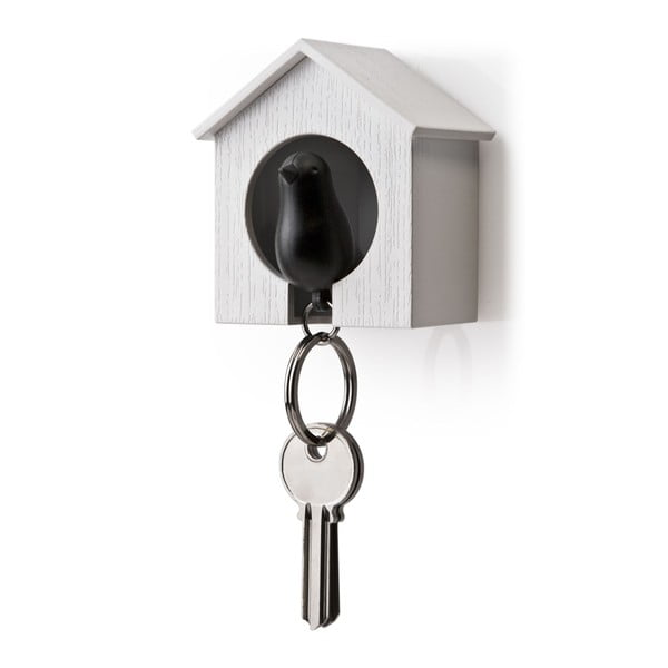 Budka s klíčenkou QUALY Sparrow, bílá budka/černý ptáček