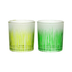 Sada 2ks svícnů Grass Glass, 7x8 cm