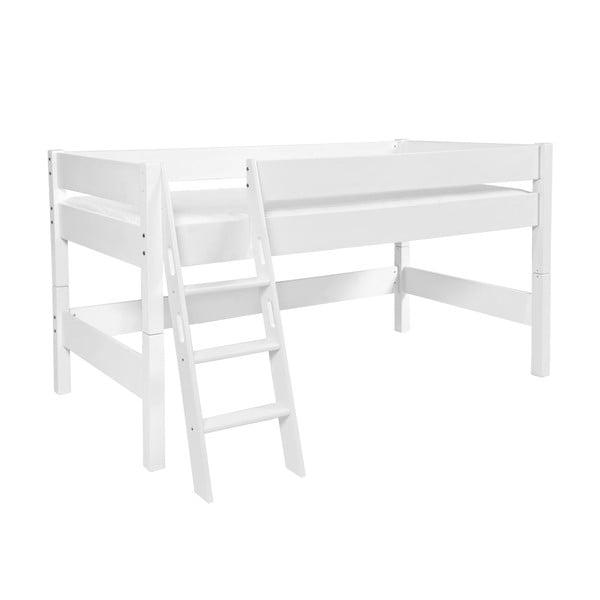 Bílá dětská patrová postel z masivního bukového dřeva Mobi furniture Nik, 200x90cm