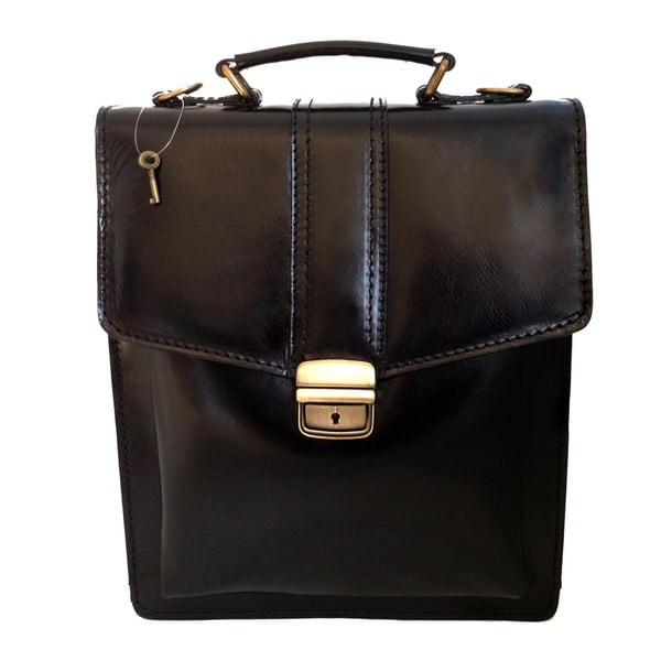 Černá kožená taška Chicca Borse Joanna