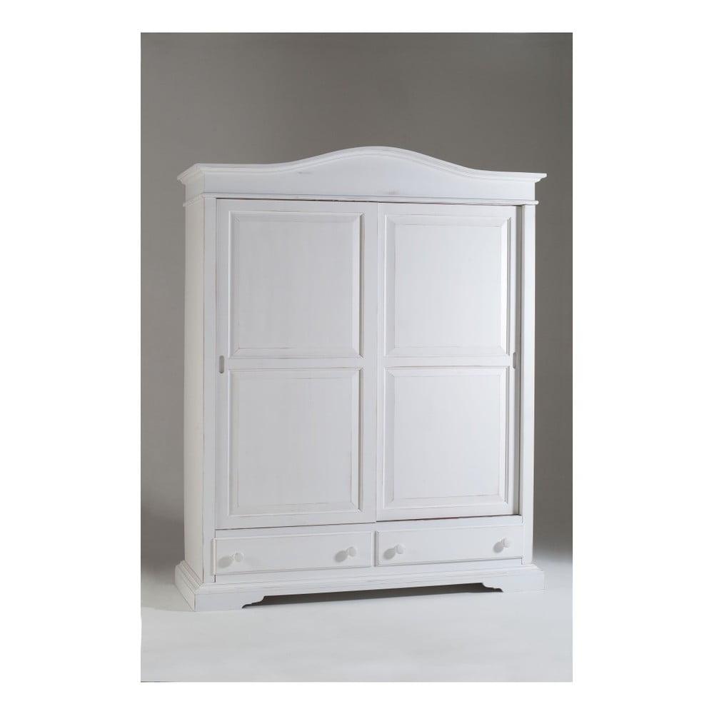 Bílá dřevěná šatní skříň s posuvnými dveřmi Castagnetti Nadine