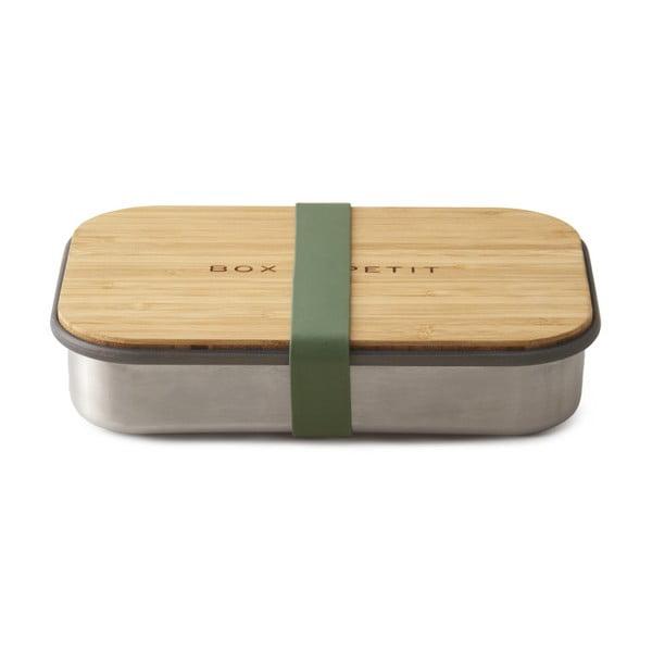 Zielony stalowy pojemnik obiadowy z bambusowym wieczkiem Black + Blum Bamboo, 900 ml