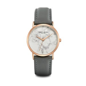 Dámské hodinky s šedým koženým řemínkem a ciferníkem v růžovozlaté barvě Eastside Rosevelt