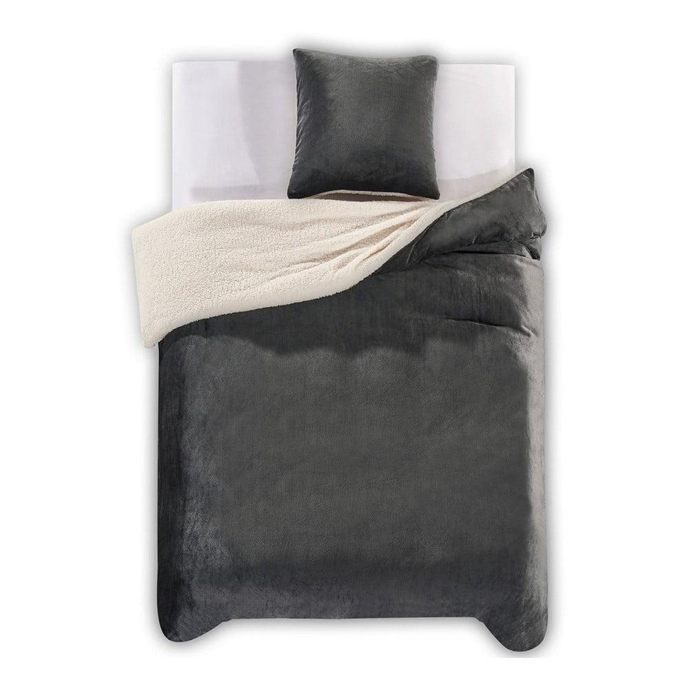 Tmavě šedé povlečení z mikrovlákna DecoKing Teddy, 135 x 200 cm