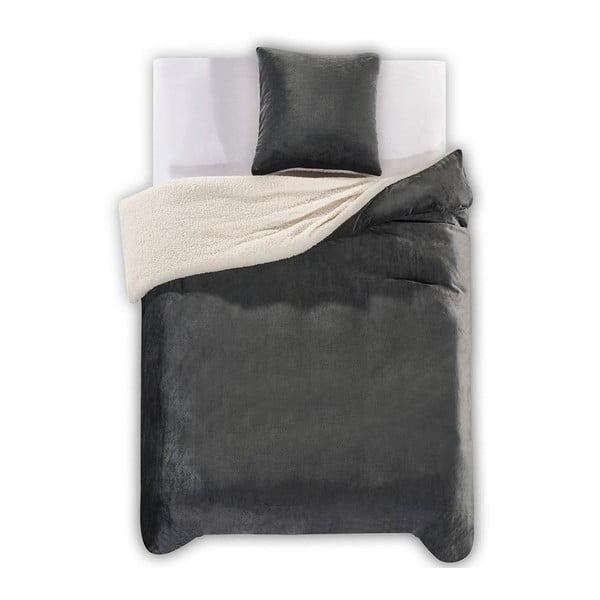 Lenjerie de pat din microfibră DecoKing Teddy, 135 x 200 cm, gri închis