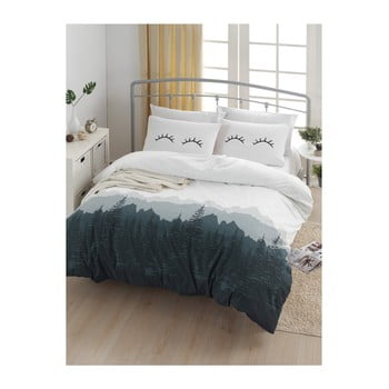 Lenjerie de pat cu cearșaf din bumbac ranforce, pentru pat dublu Mijolnir Eyelash White, 200 x 220 cm de la EnLora Home