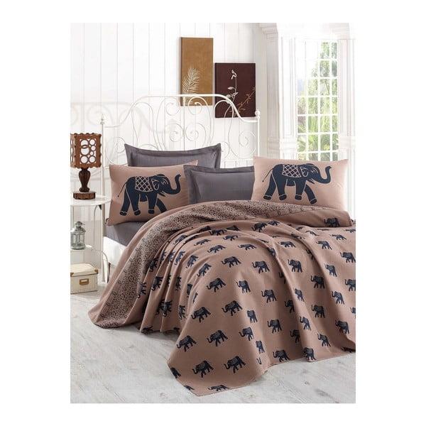 Brązowa narzuta na łóżko dwuosobowe z prześcieradłem i poszewkami na poduszki Freedom, 200x235 cm
