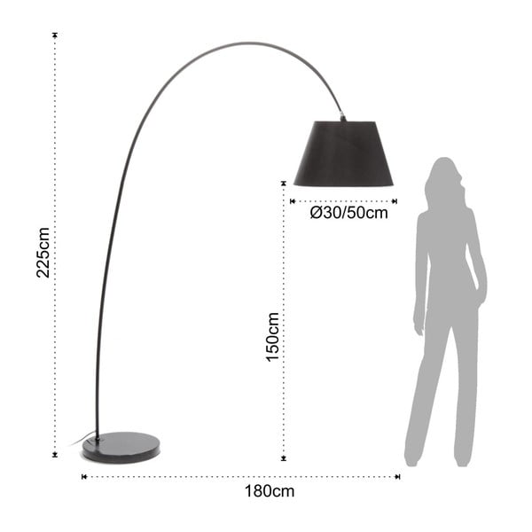 Stojací lampa s černým stínidlem a mramorovou základnou Tomasucci Smarty