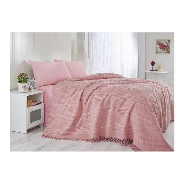 Coral könnyű pamut ágytakaró egyszemélyes ágyra, 180 x 240 cm