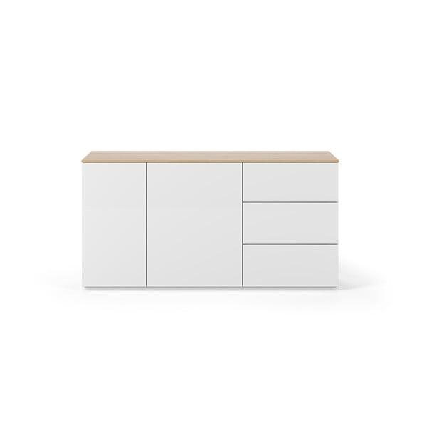Bílá komoda s deskou v dekoru dubu se 2 dveřmi a 3 zásuvkami TemaHome Join, šířka 160 cm