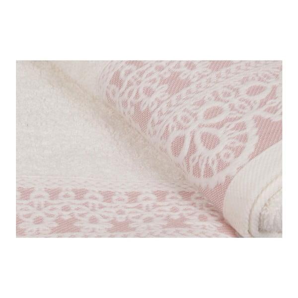 Sada dvou bílých ručníků s růžovým detailem Romantica, 90x50cm