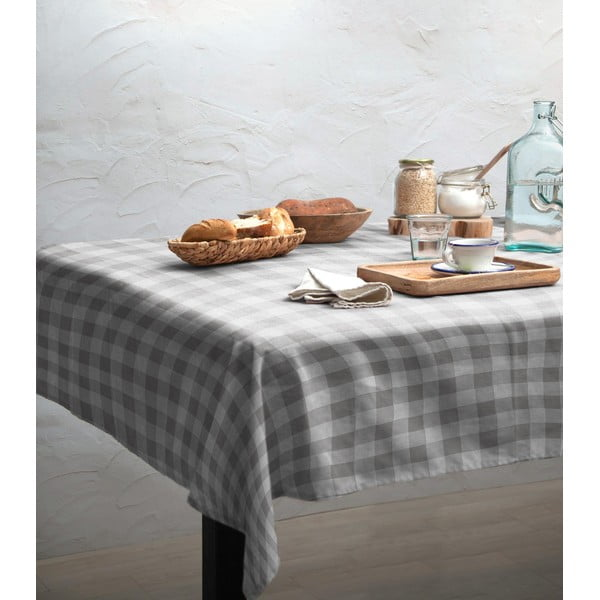Ubrus Linen Couture Grey Vichy, 140 x 200 cm