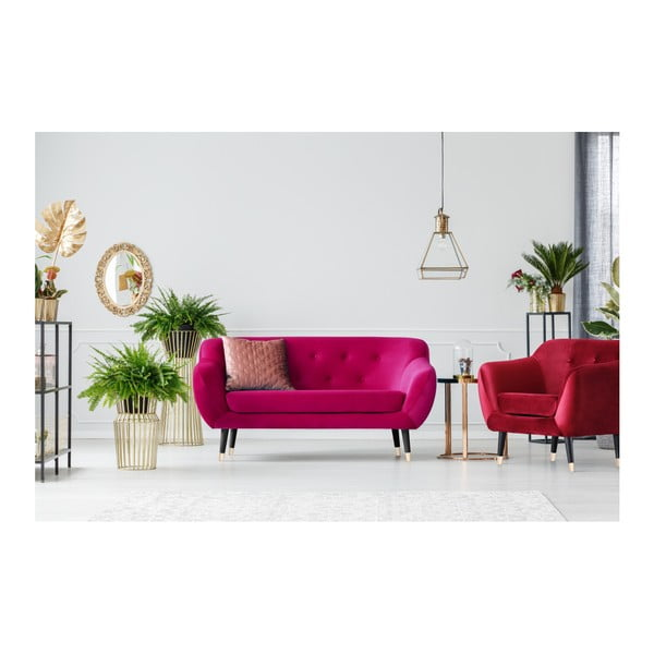 Růžová dvoumístná pohovka s černými nohami Mazzini Sofas Amelie