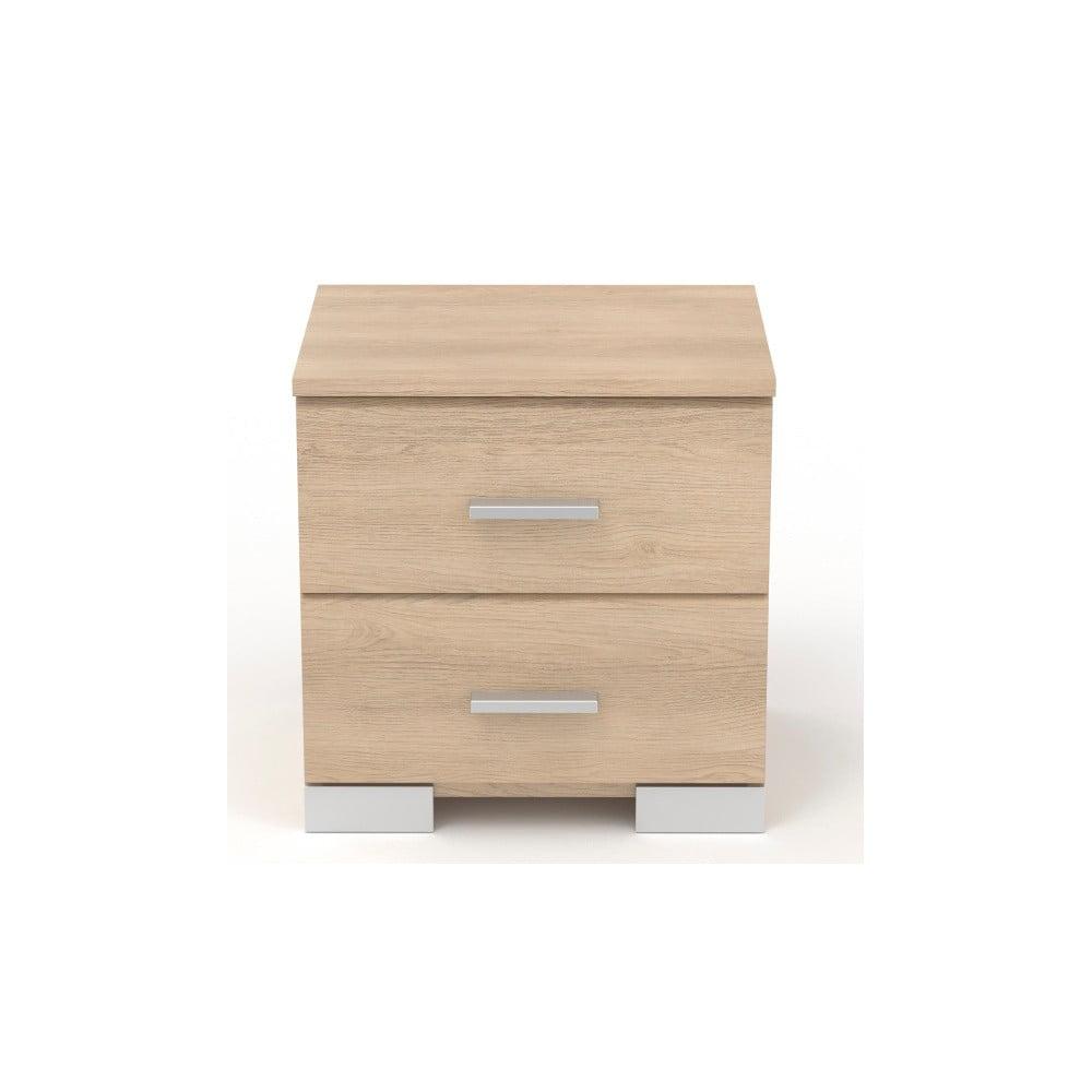 Noční stolek v dekoru dubového dřeva se 2 zásuvkami Parisot Alix