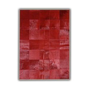Koberec z pravé kůže Plain Red, 140x200 cm