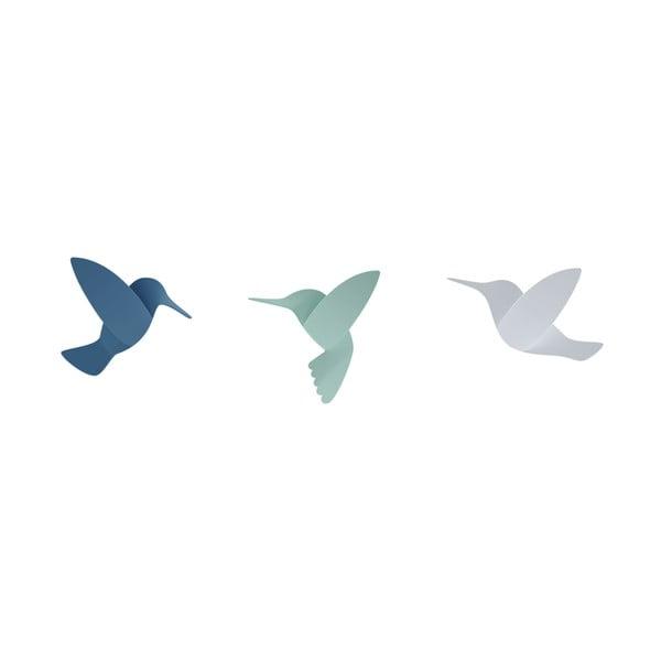 Sada 3 modrých 3D nástěnných samolepek Umbra Hummingbird