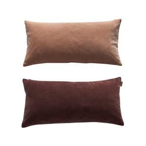 Hnědo-růžový oboustranný bavlněný polštář OYOY Lia