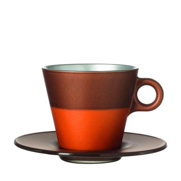 Hnědý metalický hrnek na cappuccino měnící barvu LEONARDO Ooh! Magico