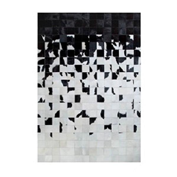 Černobílý koberec z pravé kůže Pipsa Degradada, 90x150 cm