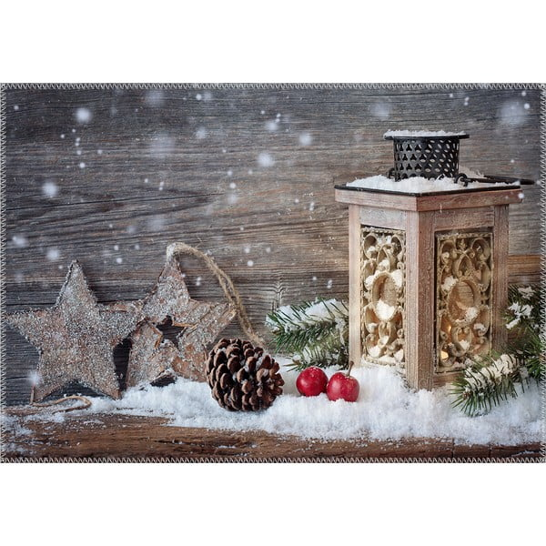 Covor Vitaus Christmas Period Rustic Two Stars And Lantern, 50 x 80 cm