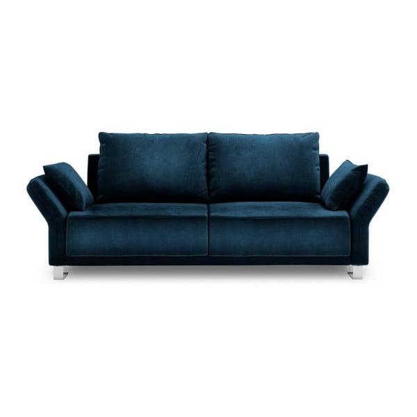 Královsky modrá třímístná rozkládací pohovka se sametovým potahem Windsor & Co Sofas Pyxis