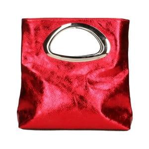 Červená kožená kabelka Chicca Borse Lumino