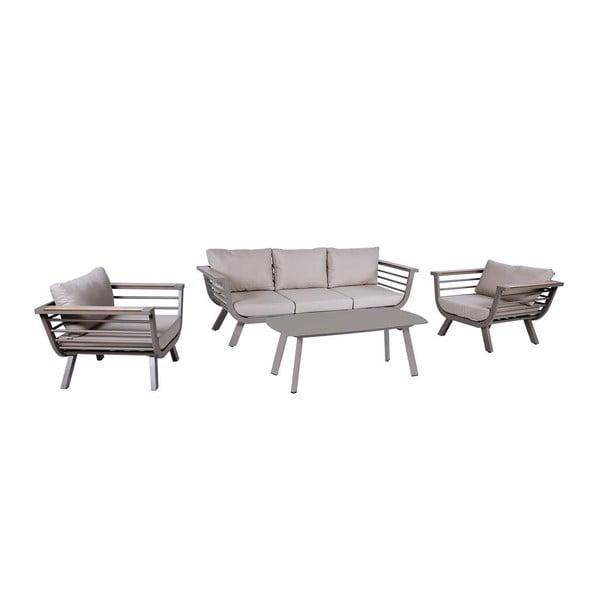 4-dielna záhradná sedacia súprava so stolíkom s konštrukciou z hliníku ADDU Aroa
