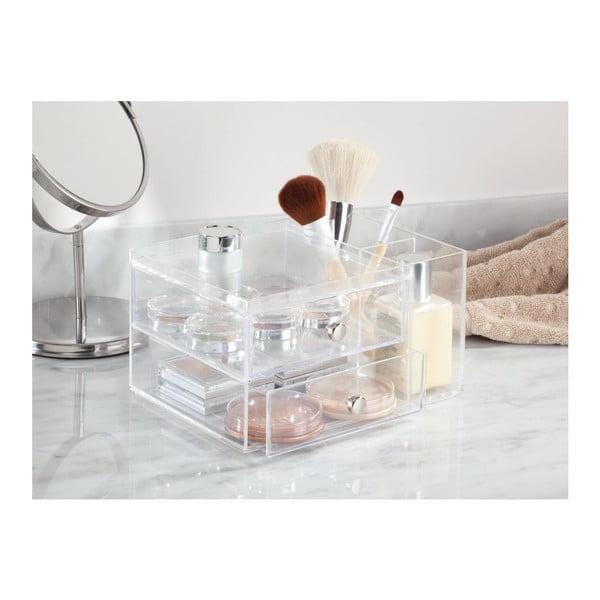 Organizator transparent cu 2 sertare iDesign, înălțime 18 cm