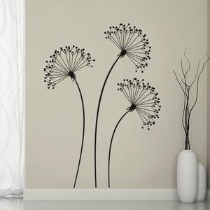 Samolepka na stěnu 3 černé květiny, 70x50 cm