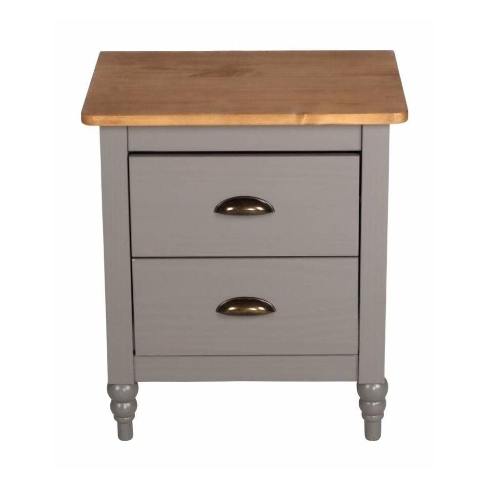 Šedý noční stolek z borovicového dřeva SOB Irelia