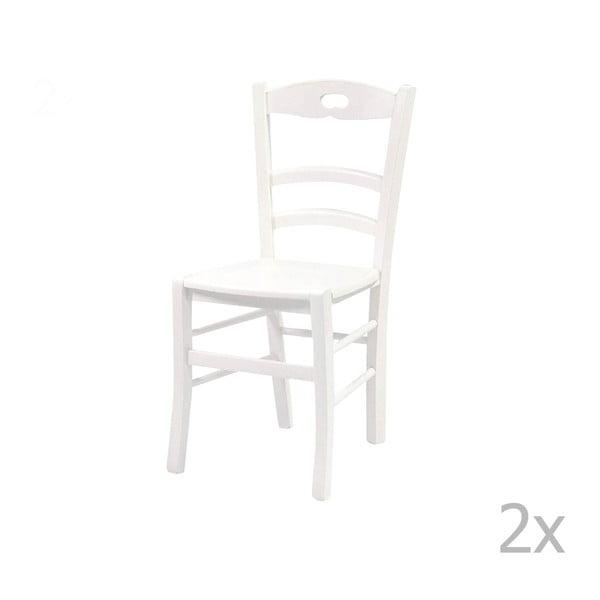 Sada 2 bielych stoličiek z masívneho dreva Crido Consulting Wooden