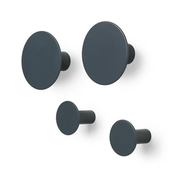 Sada 4 tmavosivých nástenných háčikov Blomus Ponto