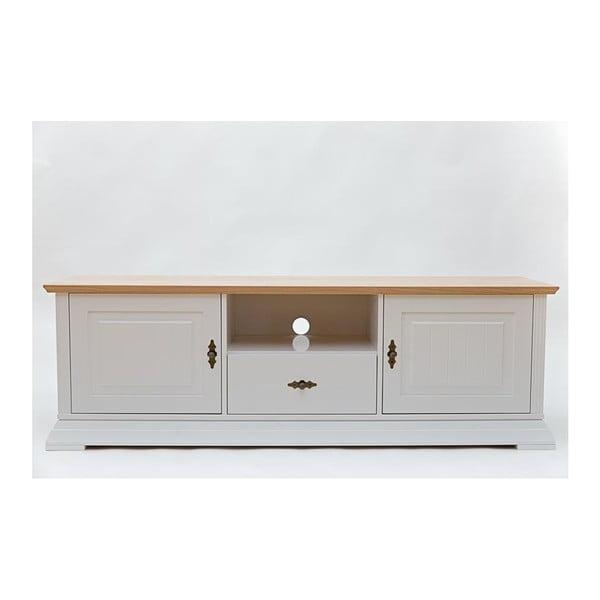 Bílá TV komoda s detaily z dubové dýhy a 2 dvířky We47 Family Leelo