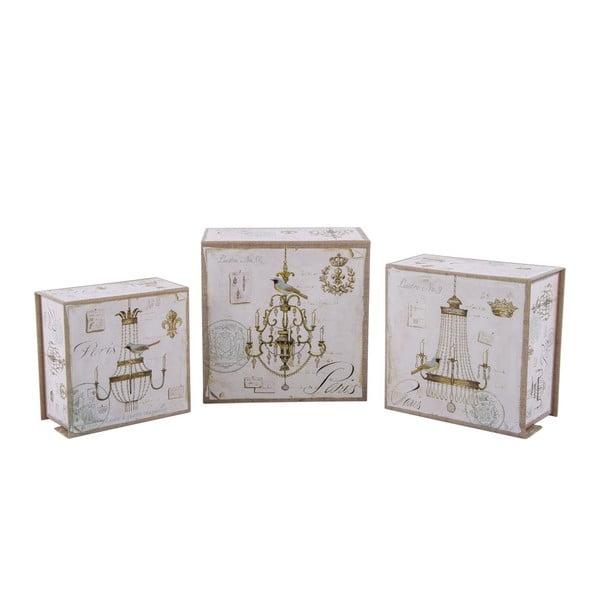Sada 3 úložných krabic Elegant Chandelier