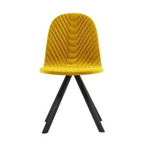Žlutá židle s černými nohami Iker Mannequin Wave