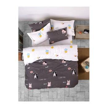 Lenjerie de pat cu cearșaf din bumbac ranforce, pentru pat dublu Mijolnir Papcik Anthracite, 160 x 220 cm de la Mijolnir