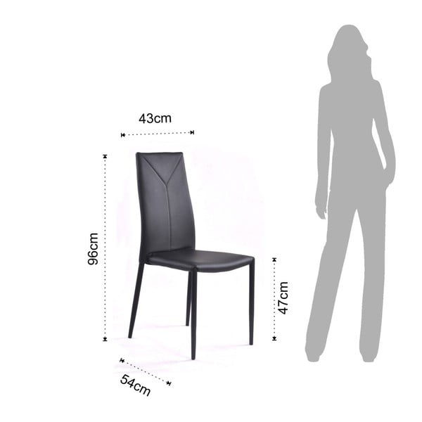 Sada 4 černých jídelních židlí Tomasucci Sally